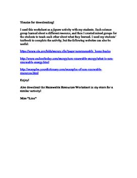 Non Renewable Resources Worksheet