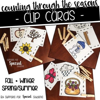 Counting Through the Seasons - Clip Cards for Numbers 1-10