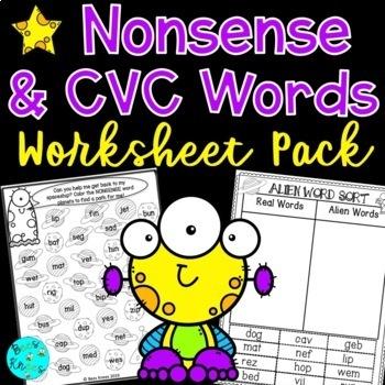 CVC Reading Real or Nonsense Words Worksheets