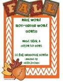 Non-Sense/Real Word - Fall Seasonal Color Sorting Pages
