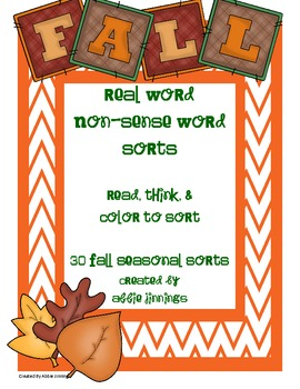 Non-Sense/Real Word - Fall Seasonal Color Sorting Pages