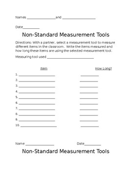 Non- Standard Measurement Activity and companion Homework Activity