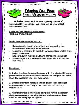 Non-Standard Measurement Shoe Activity (Primary Grades)