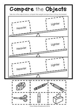 Weight Worksheets- Non Standard Measurement / Kindergarten /Grade One Students.