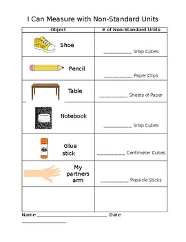 non standard measurement worksheet by boren2teach tpt. Black Bedroom Furniture Sets. Home Design Ideas