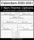 Non-Themed Calendar Pages