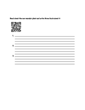 Non-Vascular and Vascular Plant research and QR Code