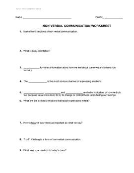 Non-Verbal Body Language Worksheet