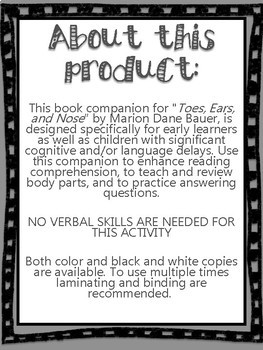 """""""Ears, Nose, and Toes"""" Nonverbal Book Companion Activity"""