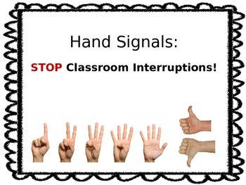 Non-Verbal  Hand Signal Posters for the Classroom (Editable)