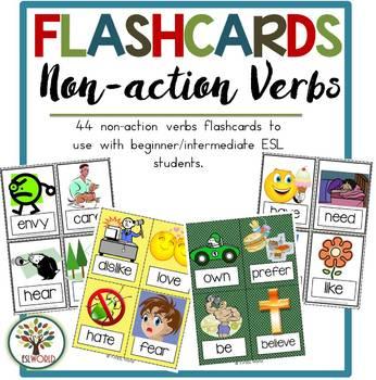 Non-action Verbs {32 Flashcards & Games} ESL Adults & Grades 4-6