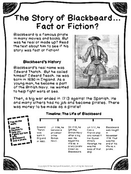 Non-fiction 2nd Grade Reading Passage: The Story of Blackbeard the Pirate