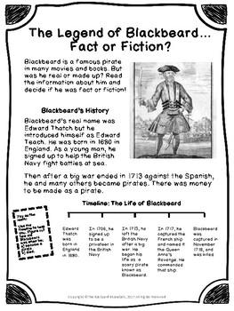 Non-fiction 3rd Grade Reading Passage: The Legend of Blackbeard the Pirate
