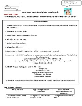 Annotation Guide and Analysis Paragraph Guidelines (ELA 9-12)