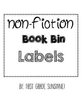 Non-fiction Book Bin Labels