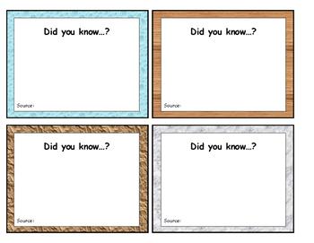 Non-fiction Fact Cards