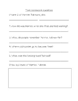 Non- fiction Harriet Tubman close read with text dependent questions