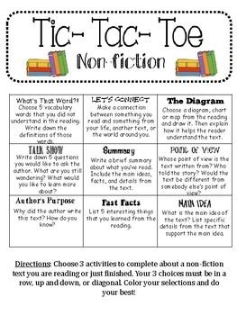 Non-fiction Rading Tic-Tac-Toe