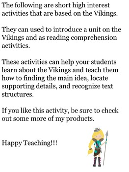 The Vikings: Non-fiction Reading Comprehension and Social Studies Activites