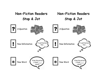 Non-fiction Stop and Jot Visual Aid