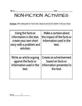 Non-fiction Supplemental Activities