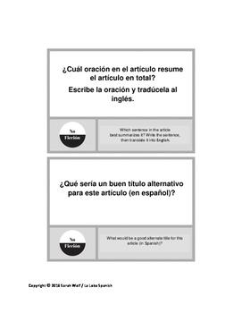 Non-fiction Task Cards in Spanish (with English translations)