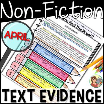 Non-fiction Reading Passages Text Evidence {April}