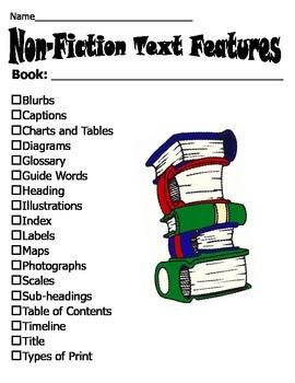 Non-fiction Text Feature Checklist