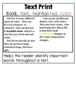 Non-fiction Text Features Anchor Chart