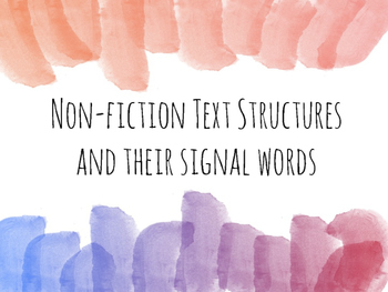 Non-fiction Text Structure Signal Word Posters