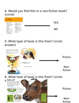 Non-fiction (nonfiction) Text Features Test/Quiz