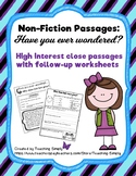 Reading Non Fiction Informational Text Passages