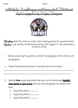 Non-fiction skills practice - Fortnite article + questions