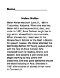 Non-fiction text  Helen Keller comprehension