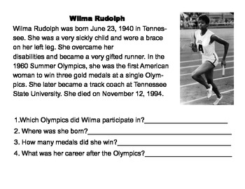 Non-fiction text Wilma Rudolph comprehension
