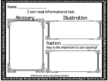 Non-fiction text feature organizer Social Studies