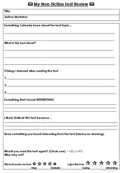 Non-fiction text review sheet (Freebie)