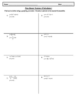 Non-linear Systems (with Graphing Calculator)