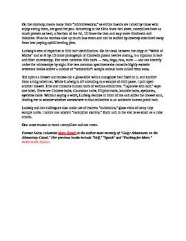 Keystone Test Prep-NonFiction Article: Bug Heads, Rat Hair--Bon Appetit