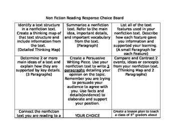NonFiction Reading Choice Board