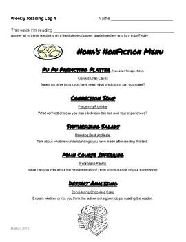 NonFiction Reading Menu Questions