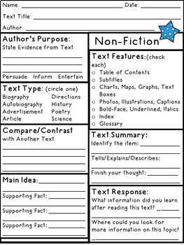 NonFiction Text Elements Response Pages