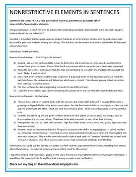 NonRestrictive Elements:  Commas, Dashes, Parentheses