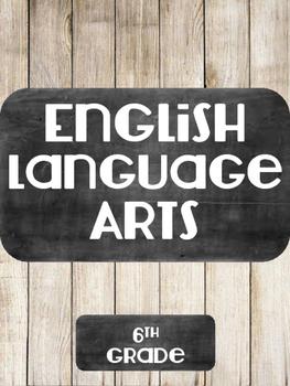 Noneditable English Language Arts Binder Cover Chalkboard and Wood