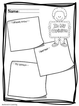 Nonficiton Graphic Organizers Mini set
