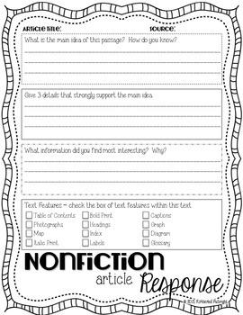 Nonficiton Response Sheet and Poster Set