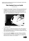 Nonfiction 5th STAAR Passage - Vocab and Informational TEKS (Supercars)