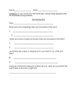 Nonfiction Activity- Surveying the Text