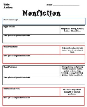 Nonfiction Analysis for any informational text