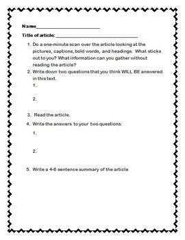 Nonfiction Article Activity